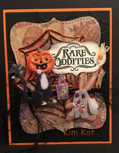 Halloween Card Pop Up 3D Retro Pumpkin Head Cat by KimKatShop