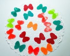 18 Handmade butterflies: Butterfly Embellishments - embossed - Colorful - Bright - Neon - orange - lime green -  turquoise - red - coral by Wcards on Etsy