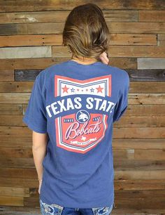 Show your school spirit off in this new Texas State shirt in comfort colors. Go Bobcats!