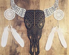 Cow Skull String Art with Flower Crown Silhouette Wall Art