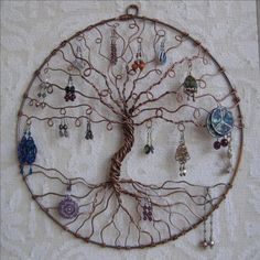 Earring Tree, Copper Tree of life, wall hanging, wall art, earring holder, jewelry display, earring display #dorm