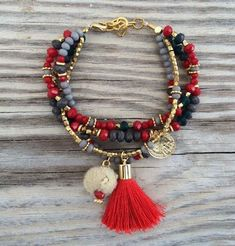 DIY Jewelry: OOAK armcandy SET: 4 beaded bracelets in beautiful colors with tassel coin charm and pompom Tassel Bracelet, Tassel Jewelry, Cute Jewelry, Jewelry Crafts, Beaded Jewelry, Jewelery, Jewelry Bracelets, Jewelry Accessories, Jewelry Design