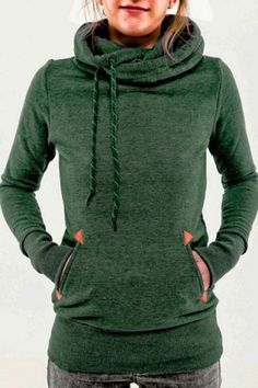 Stylish Hooded Long Sleeve Pocket Design Embroidered Women's Hoodie Sweatshirts & Hoodies | RoseGal.com Mobile
