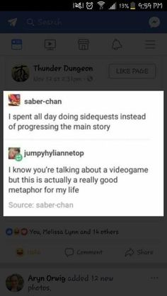I'd say same but writing my books and making my videos is my main story so sometimes it's hard to do the side quest (I.e. school) despite it being, you know, an important side quest that unlocks the secret level, making the whole experience more enjoyable