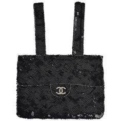 Circa1998 Chanel Black Sequined Evening Bag W  Rhinestone CC and Silver  outlines 5c5077c039e49