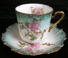 ANTIQUE 1890 s LIMOGES CUP & SAUCER HAND PAINTED RAISED GILDING & ROSES PATTERN picclick.com