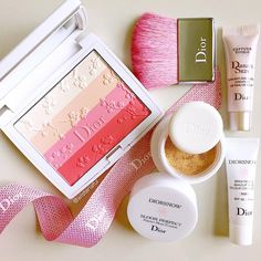 """""""Diorsnow 2016 Cherry Bloom 001 - Rosy glow powder face and cheeks✨ Also trying out the New Diorsnow Bloom Perfect - Perfect Moist Cushion and bases…"""""""