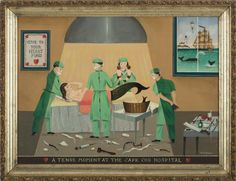 A tense moment at the Cape Cod Hospital von Ralph Eugene Cahoon Jr. Mermaid Images, Messy Nessy Chic, The Upside, Mermaids And Mermen, Outsider Art, Mythical Creatures, Cape Cod, Folk Art, Whale
