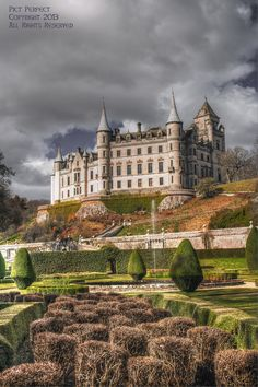 "Dunrobin Castle by Golspie, Scotland Dunrobin Castle is a stately home in Sutherland, in the Highland area of Scotland. It is the family seat of the Earl of Sutherland and the Clan Sutherland. Dunrobin's origins lie in the Middle Ages, but most of the present building is the work of Sir Charles Barry, the architect of the Palace of Westminster in London, who greatly extended the building in 1845. The resulting house has a ""French Renaissance meets Scots Baronial"" style."