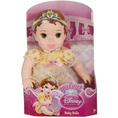 Baby Belle features a soft body with plastic arms, legs and head. Tiara attaches with elastic strap. Outfit features shimmering organza trim. Plastic/polyester. 12'' tall. Ages 2 and older. Collect all the My First Disney Princess Dolls. $15.99