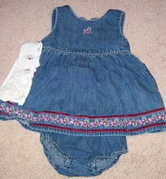 "2000 Gymboree Azalea ""No Name"" Denim jumper dress with diaper cover and tights"