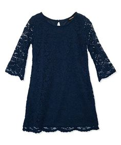 Another great find on #zulily! Navy Lace Shift Dress - Girls #zulilyfinds