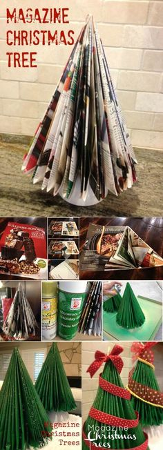 We made these in grade school! Magazine Christmas treehttp://sevenclowncircus.com/2012/12/magazine-christmas-tree.html