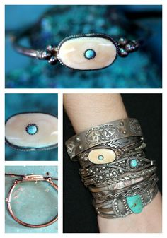 Hinged Bangle Bracelet Turquoise Bone Sterling Silver – Yourgreatfinds