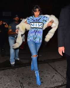 Splurge: Rihanna's Up and Down Nine Inch Nails Vintage 90's Tie Dye Tour T-Shirt and Rihanna x Manolo Blahnik Dancehall Cowgirl Jewel Denim Booties