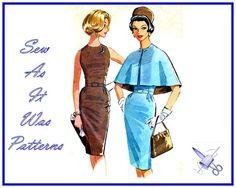 1960s Sheath Wiggle Dress Reversible Caplet by SewAsItWasPatterns
