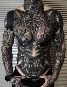 Tattoos And Body Art full body tattoo designs Full Chest Tattoos, Full Sleeve Tattoos, Ink Tattoo, Body Art Tattoos, Skull Tattoos, Animal Tattoos, Full Body Tattoos, Front Neck Tattoo, Mens Body Tattoos