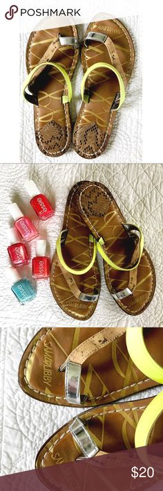 New Listing! Neon Sandals New listing! Sam & Libby Sandals. Size 6.5 (I'm typically a 6 and these fit perfect). Colors include tans, neon yellow, and silver. Good condition! Any questions, let me know! 🏖 Sam & Libby Shoes Sandals
