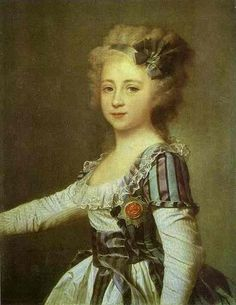historicalfashion:  Elena Pavlovna (later the Grand Duchess of Russia) by Levitzky, 1792 I am so in love with her striped chemise a la reine.