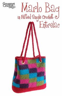 Felted single Crochet bag. ~ I need to get some felting needles and try this!