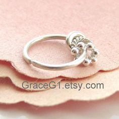 SALE Silver cartilage hoop earrings with charms tragus by GraceG1, $28.99