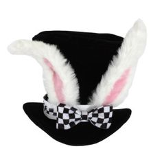 This fantasy Alice in the Wonderland White Rabbit Topper is perfect for Mad Hatter Tea Parties and very happy un-birthdays. The Alice in the Wonderland White Rabbit Topper has rabbit ears on a black top hat with a black and white checkered blow. Costume Alice, Costume Hats, Bunny Costume, Costume Ideas, Costume Box, Alice Cosplay, Costume Parties, Queen Costume, Alice In Wonderland Birthday