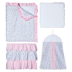 Pink and Gray Kenya 11 Piece Crib Bedding Set has all that your little bundle of joy will need. Let the little one in your home settle down to sleep in this incredible nursery set. This baby girl bedding set features a classic gray and white animal print. This collection uses the stylish colors of gray, pink and white. The design uses fabrics that are machine washable for easy care. This wonderful set will fit most standard cribs and toddler beds. Crib set includes: Crib Comforter, Fitted…