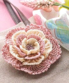 Beautiful and Delicate Crochet Flower Brooch. I need to make this flower to go on the hat I just finished!
