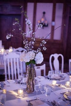 Cori Cook Floral Design Blog • gorgeous simple white tall branch centerpiece