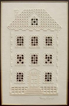 This hardanger house embroidery is delightful - don't you think? It's the work of embroidery artist Penny Cornett. Types Of Embroidery, Learn Embroidery, Embroidery Patterns Free, Hand Embroidery Designs, Embroidery Stitches, Bookmark Craft, Drawn Thread, Hardanger Embroidery, Cross Patterns