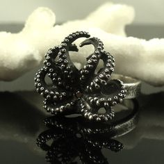 Black diamond octopus ring