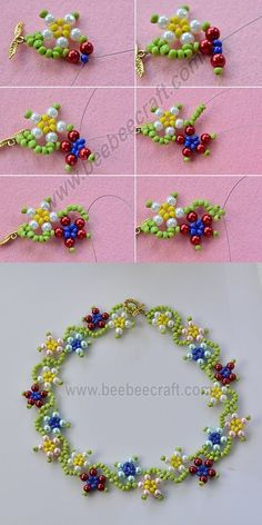 colorful flower necklace, wanna it? will release the tutorial soon. Necklace Tutorial, Diy Necklace, Flower Necklace, Pearl Necklace, Bead Jewellery, Seed Bead Jewelry, Jewelry Findings, Beaded Jewelry Patterns, Bracelet Patterns