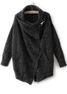Vogue Turndown Collar Long Sleeve Cardigans for Woman