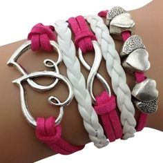 Hot Pink Hearts and Infinity Arm Party Bracelet