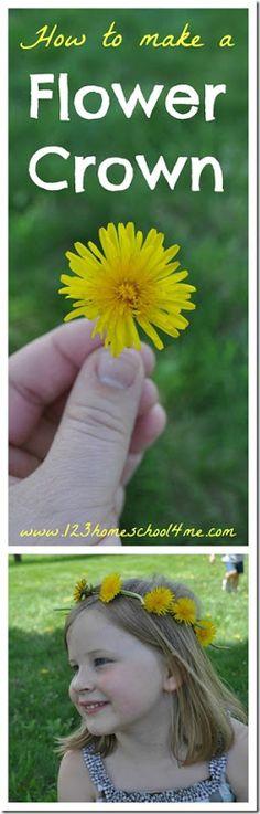 how to make a flower crown is a classic kids activities for summer, summer bucket list, spring activity, for preschool, kindergarten, 1st grade, 2nd grade