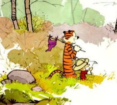 Calvin and Hobbes. This image captures the whole essence of Calvin and Hobbes Calvin Y Hobbes, Calvin And Hobbes Books, Calvin And Hobbes Wallpaper, Calvin And Hobbes Tattoo, Timeline Cover, Fun Comics, Hobbs, Comic Strips, Poster Prints