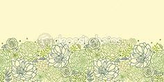 Green succulent plants horizontal seamless pattern border — Stock Vector #16140311