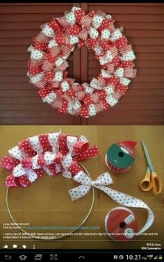 How to make a Christmas Ribbon Wreath.these are the BEST DIY Christmas Wreath Ideas! (How To Make Christmas Ribbon) Christmas Projects, Holiday Crafts, Christmas Ribbon Crafts, Holiday Wreaths, Christmas Wreaths To Make, Christmas Gift Craft Ideas, Christmas Crafts For Adults, Inexpensive Christmas Gifts, Halloween Ribbon