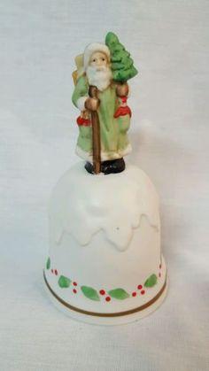 Enesco-Santa-Claus-Porcelain-Bisque-Handled-Bell