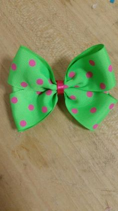 """""""Pinkadots"""" 4inch grosgrain bow with 2.5cm alligator clip  $4.95 INC P/H AUS WIDE"""
