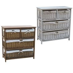Pamper your home with these gorgeous wooden storage cabinets. The wicker baskets are available in immaculate white and natural wood colours.