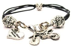 Dirt Bike Black Cord Pewter Beaded Bracelet >>> Want additional info? Click on the image.