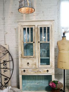 Painted Cottage Chic Shabby White Handmade Farmhouse Cabinet