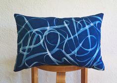 Accent Pillow  Cyanotype Tangle  18x12  Indigo by MartinePatrick