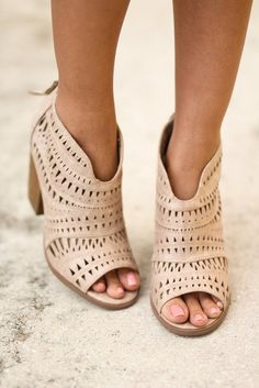 Cream Cut Out Booties