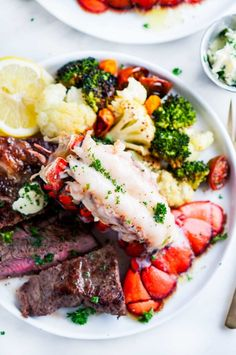 Surf and Turf Steak and Lobster Tail for Two recipe - The perfect date night dinner for two, or double the recipe for a family affair! Night Dinner Recipes, Romantic Dinner Recipes, Healthy Dinner Recipes, Cooking Recipes, Dinner Ideas, Vegetarian Recipes, Surf And Turf, Steak And Lobster Dinner, Steak And Seafood