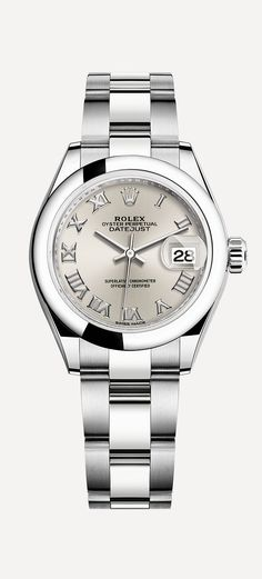The Rolex Lady-Datejust 28 in 904L steel with a modern domed bezel and Oyster bracelet.