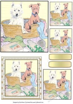 The Terrible Twos on Craftsuprint designed by Elizas Emporium - 2 cute guilty looking dogs in a basket, toppers with tags - Now available for download!