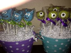 Sully and mike cake pops