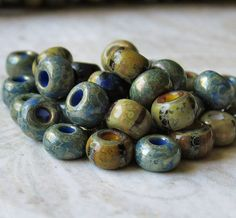 Denim Mix 2/0 Aged Striped Czech Glass Seed Bead by BobbiThisnThat